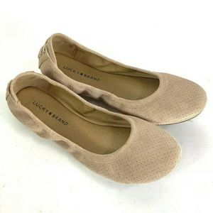 Lucky Brand Ballet Flats Perforated Pink Suede 9.5